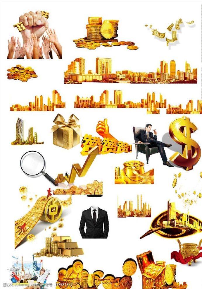 美元符号黄金城市财富金钱
