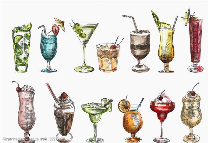 果汁素材手绘饮品