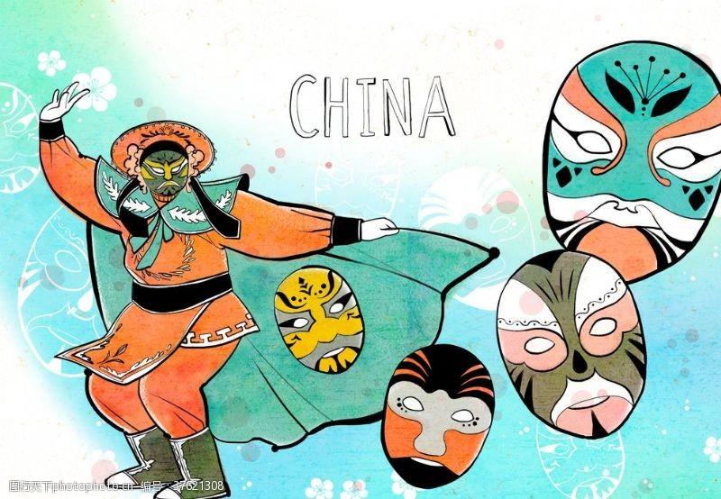 传统节日人物中国传统面具插画