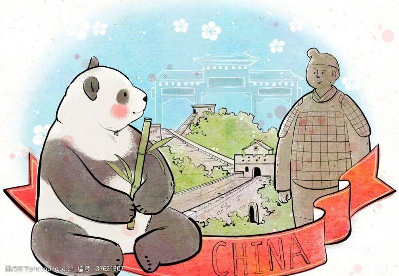 传统节日人物中国传统熊猫插画