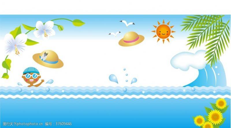 矢量卡通插画海里游泳