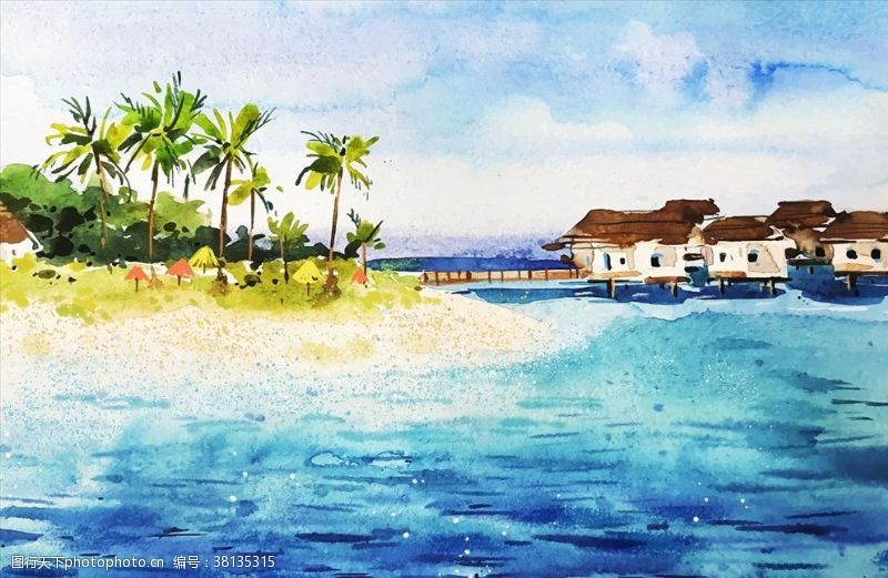 海浪背景手绘海岛背景