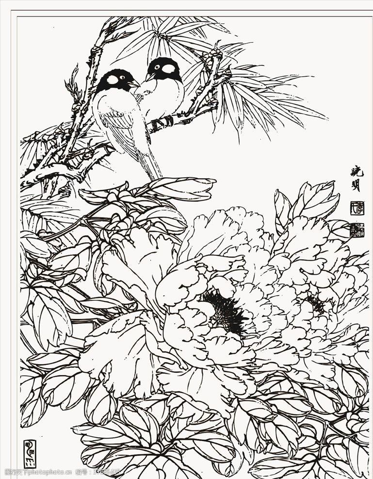 工笔梅花喜鹊上枝头