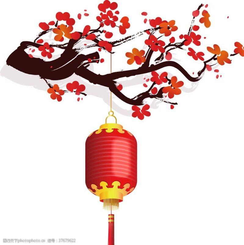梅花手绘水墨梅花灯笼中国风传统复古素材