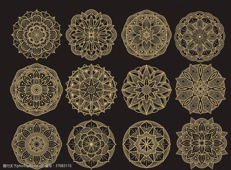 精美花纹底纹圆形精致花纹设计