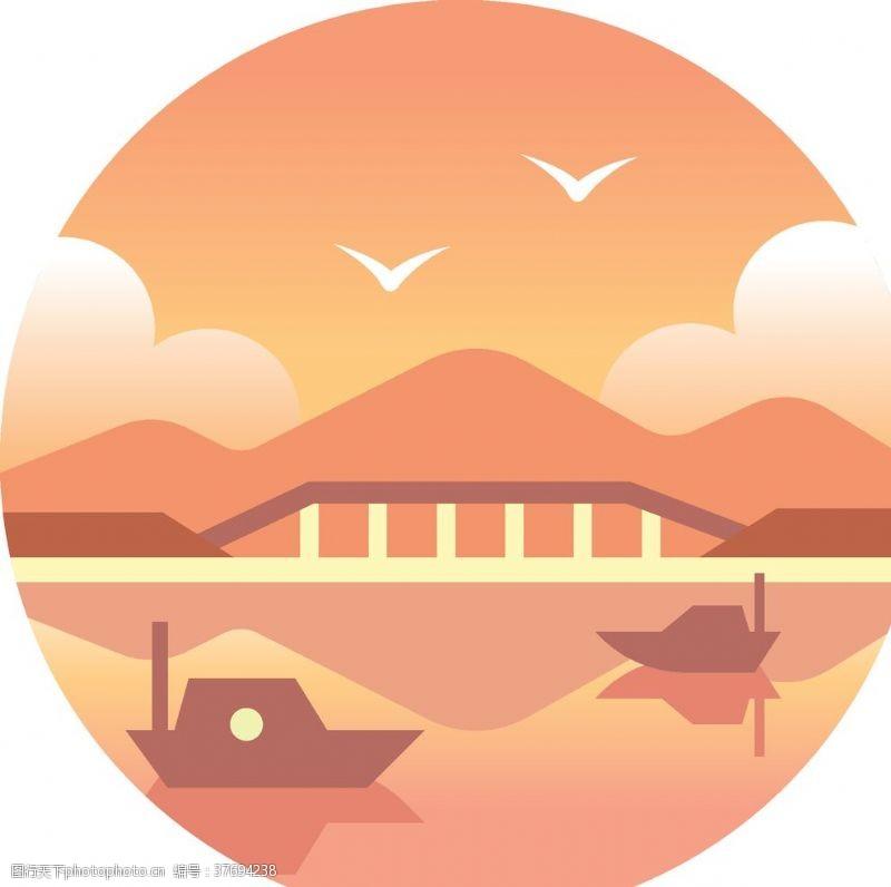 卡通河流卡通湖泊景色