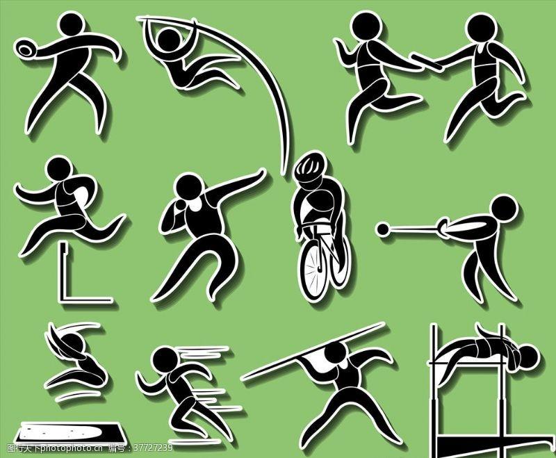 体育比赛体育人物剪影