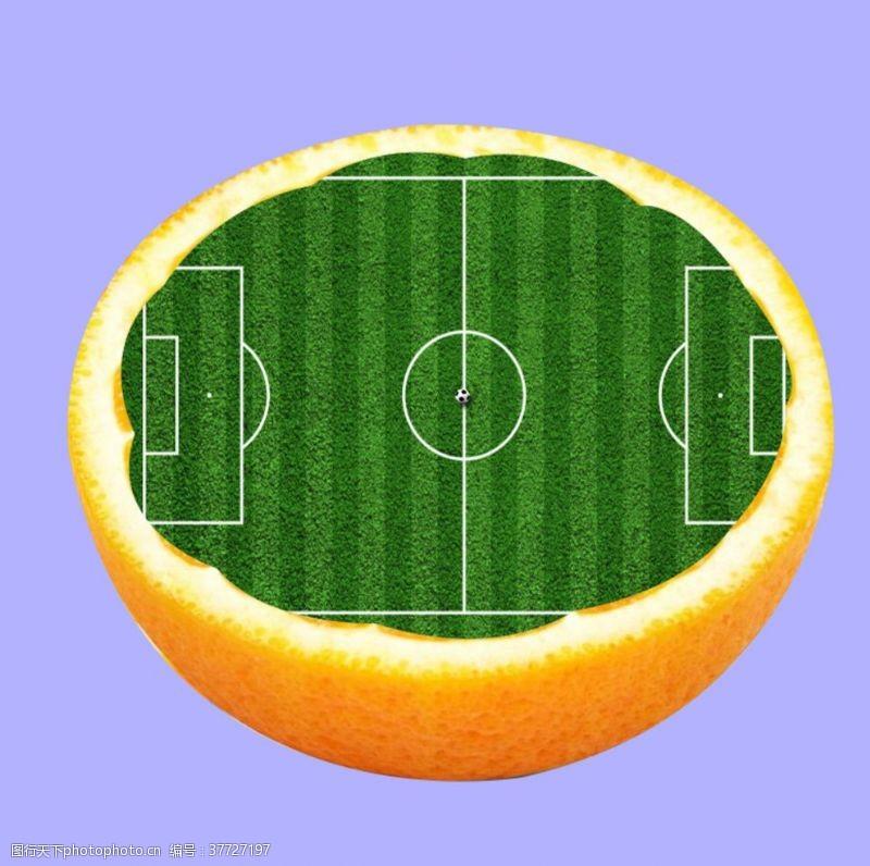 足球广告橙子足球场创意广告