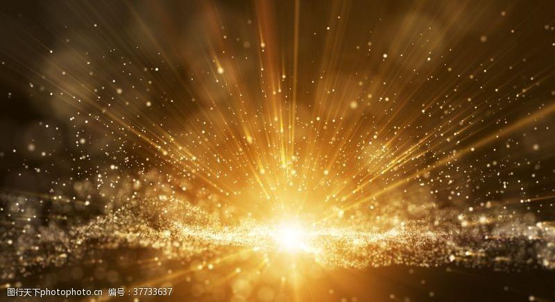 发光金色辉光尘埃粒子抽象背景