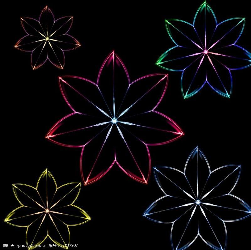 发光炫彩花朵