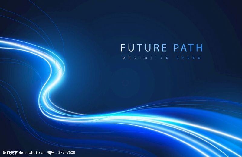 多边形设计蓝色光线背景