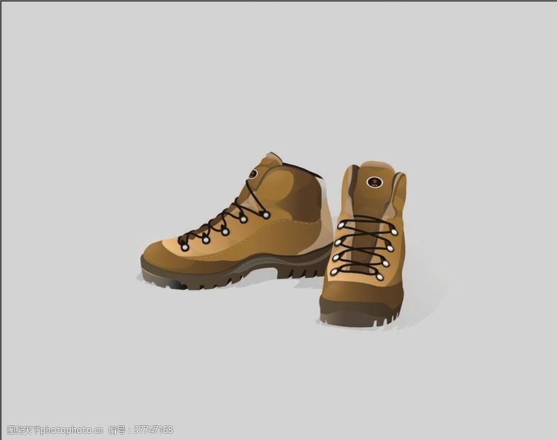 登山鞋矢量登山靴素材