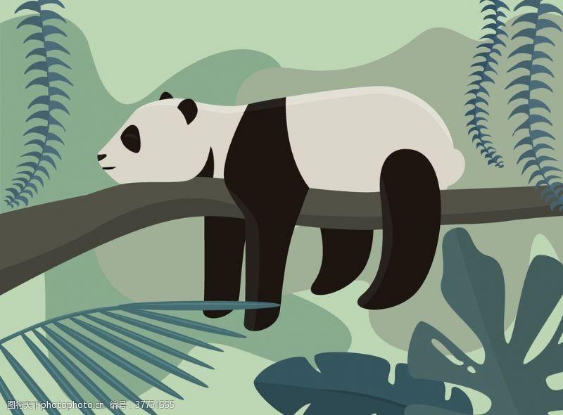 绘画卡通熊猫熊猫绘本