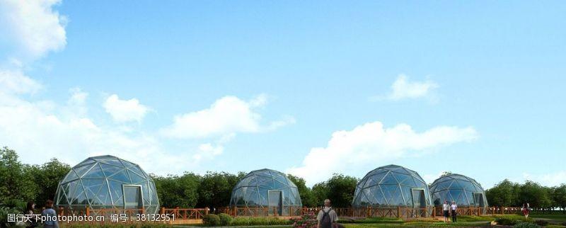 透视效果图玻璃帐篷