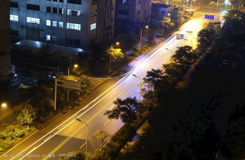 城市流光夜晚城市街道