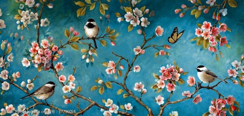 中国风背景墙花鸟背景墙