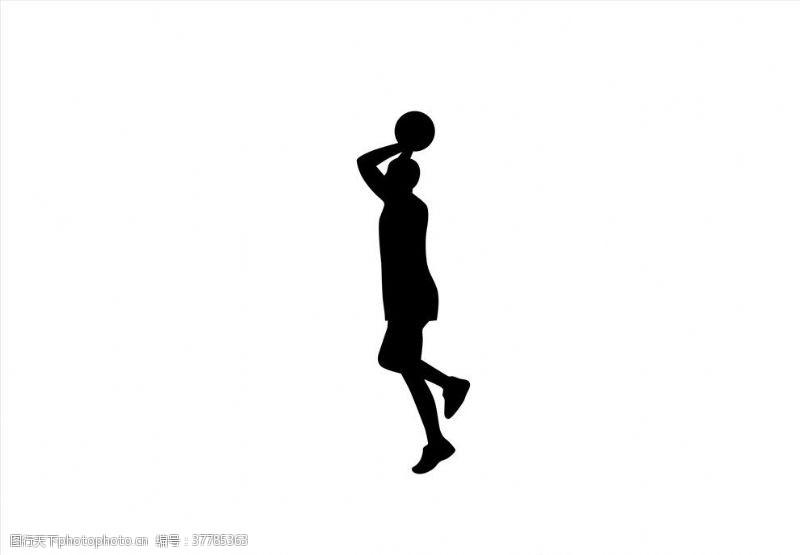 篮球剪影投篮剪影