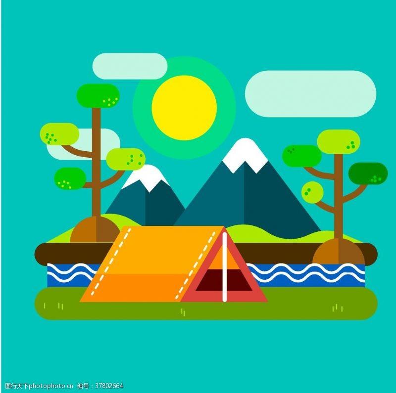 野外运动露营插画