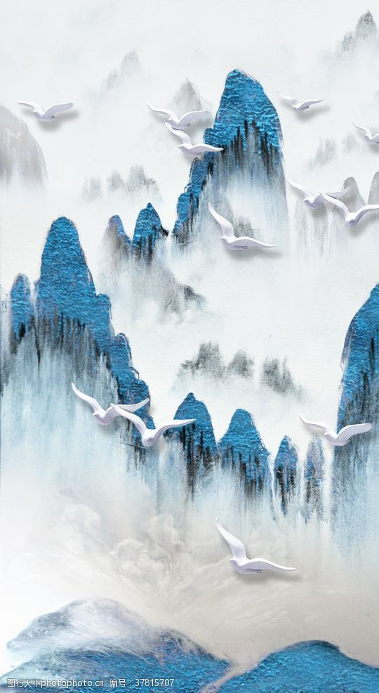 鸿运当头中式抽象山水装饰画