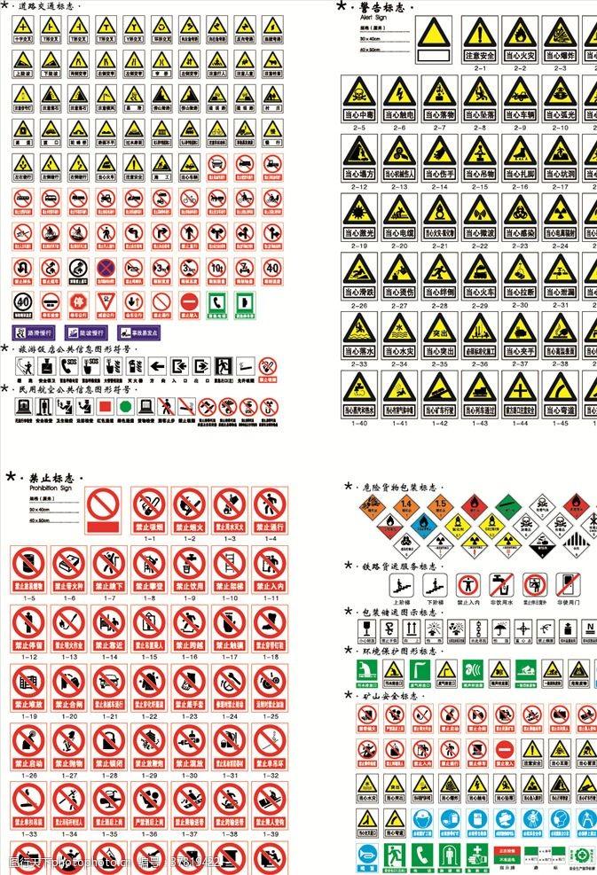 禁止标志安全警示禁止等各类标志矢量