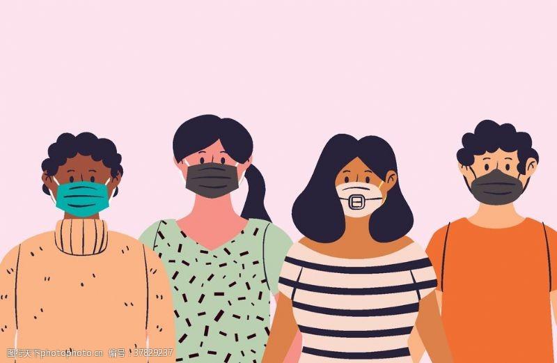 女人戴口罩的人物插画