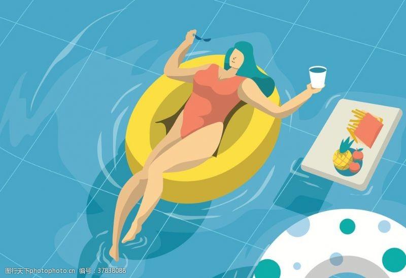 广告设计夏日泳池