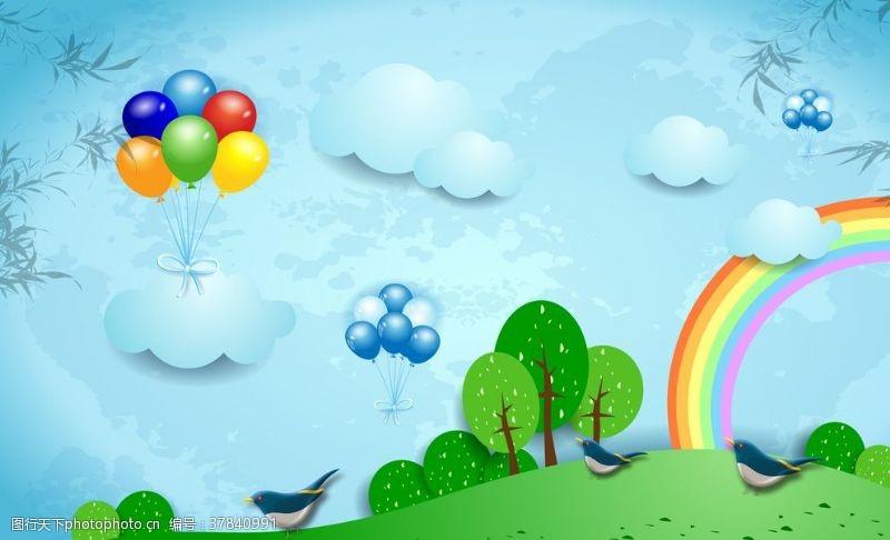 彩虹蓝色卡通儿童房背景墙