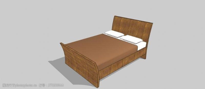 景观设计双人床skp模型