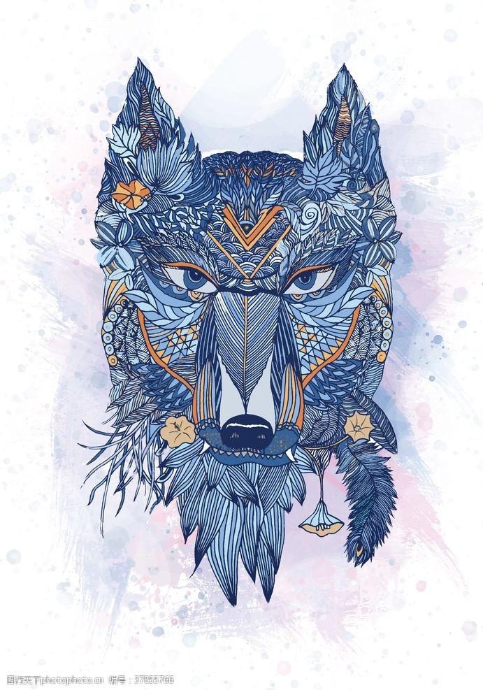 原创设计插画狼