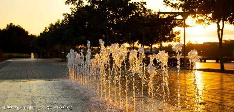 国外旅游城市喷泉