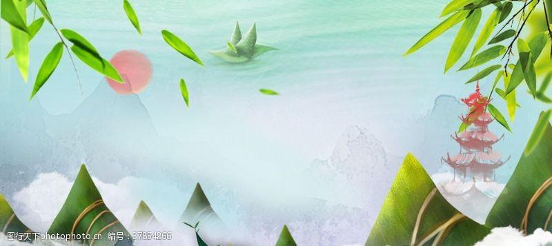 端午节素材淘宝天猫端午节简约竹子素材海报