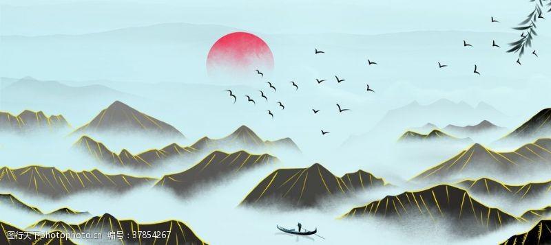 端午节素材淘宝天猫端午节山水画背景