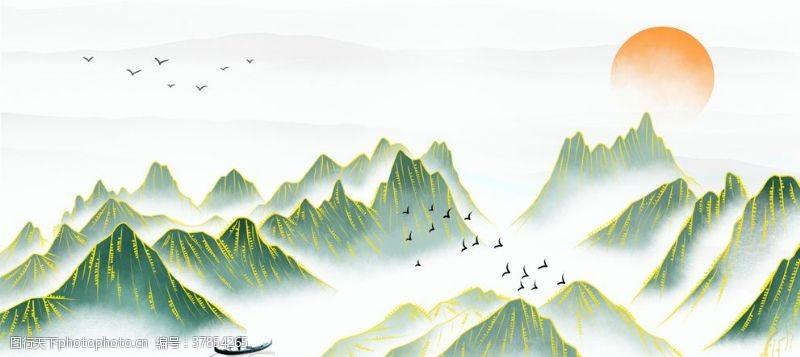 端午节素材淘宝天猫山水画古风海报背景素材