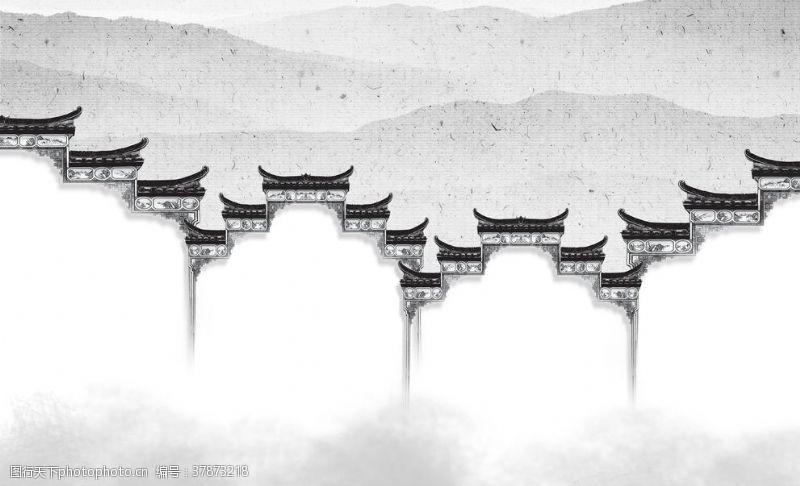 中国风背景墙中式徽派建筑背景墙