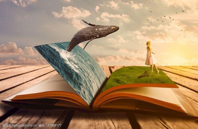 草地创意书鲸鱼大海女孩