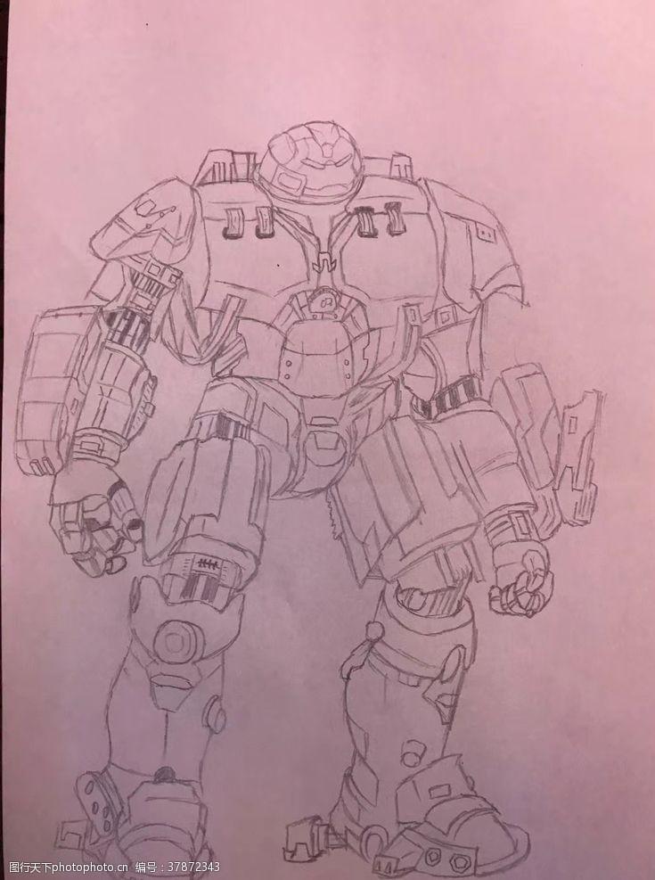 原创设计钢铁侠机器人速写线条画