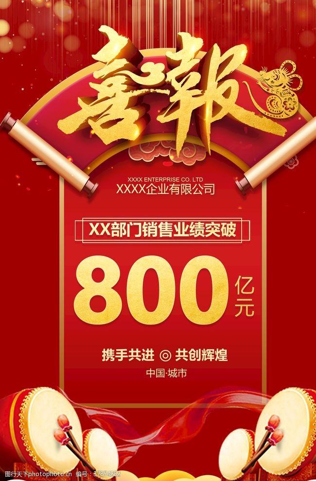 618战报红色喜庆企业公司喜报海报
