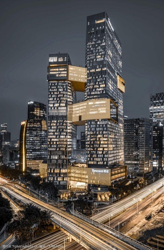 高端大气建筑夜景