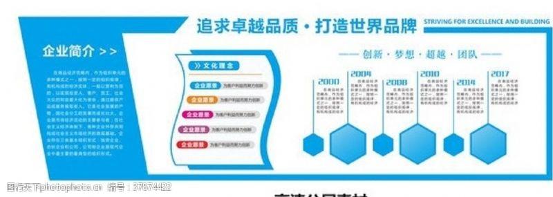 企业背景墙蓝色大气通用立体企业文化墙