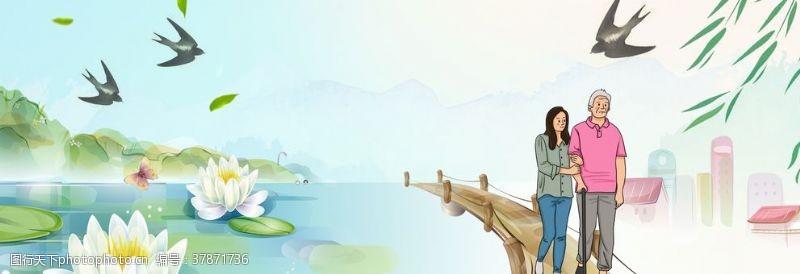 淘宝界面设计淘宝天猫父亲节夏季荷花背景