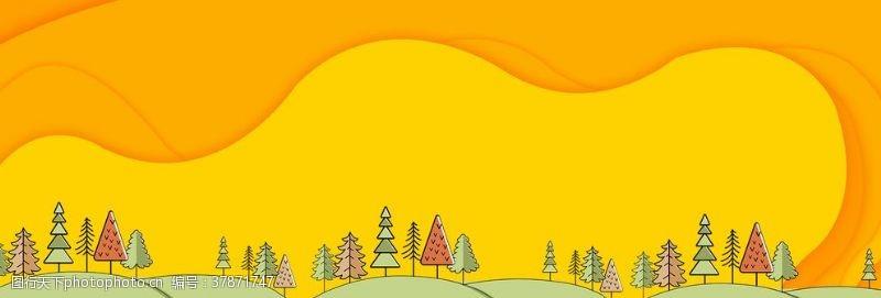 淘宝界面设计淘宝天猫黄色简约卡通背景