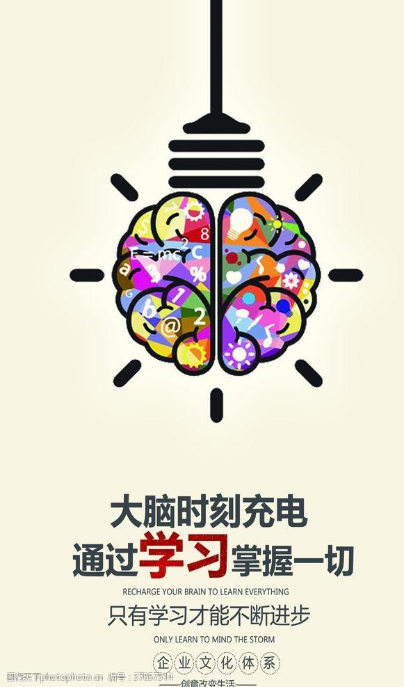 学习企业文化墙贴标语海报素材