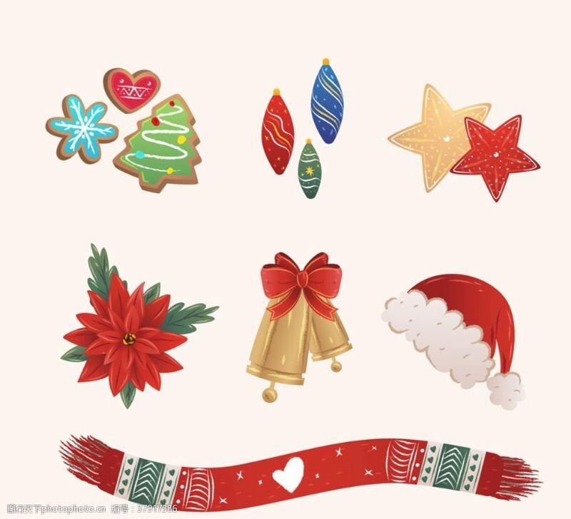 矢量图彩色圣诞节物品