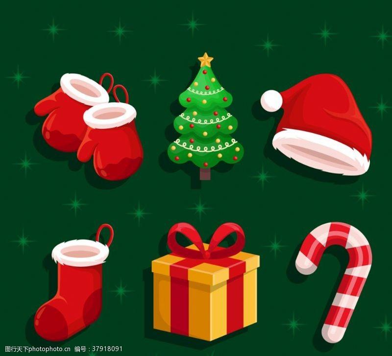 矢量图彩色圣诞节元素矢量素材,