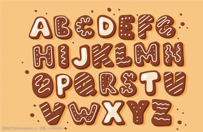 立体创意饼干字母设计矢量素材