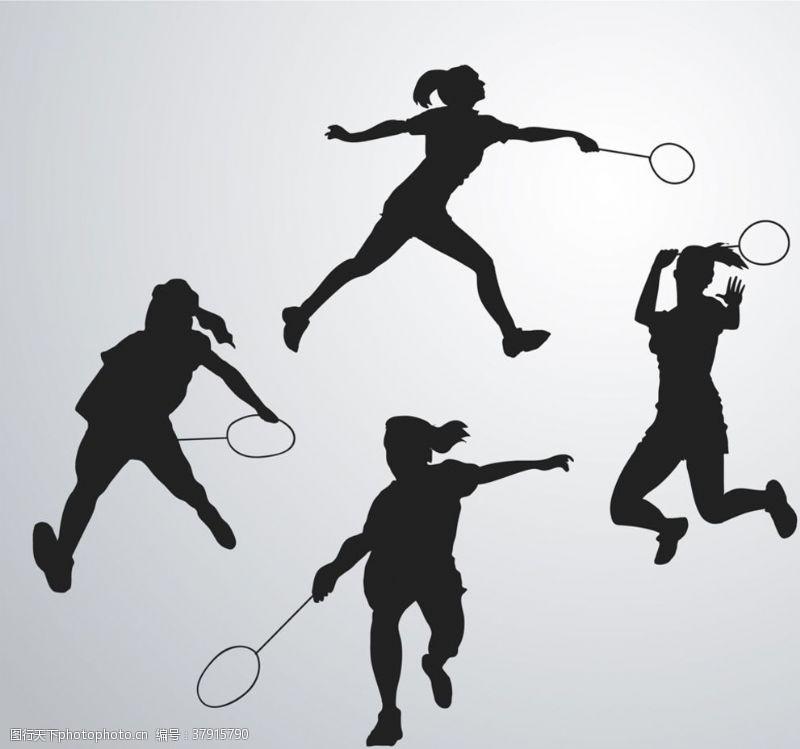 创意打羽毛球人物剪影矢量图