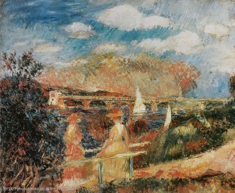 草地雷诺阿风景油画