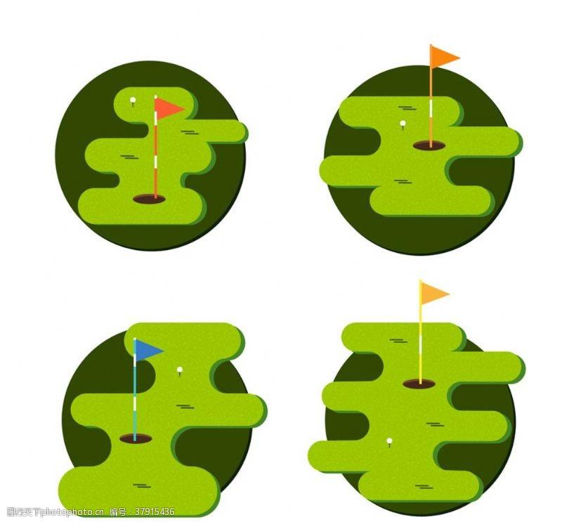矢量图绿色高尔夫球场矢量素材