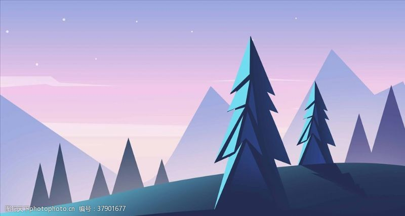 公路森林插画