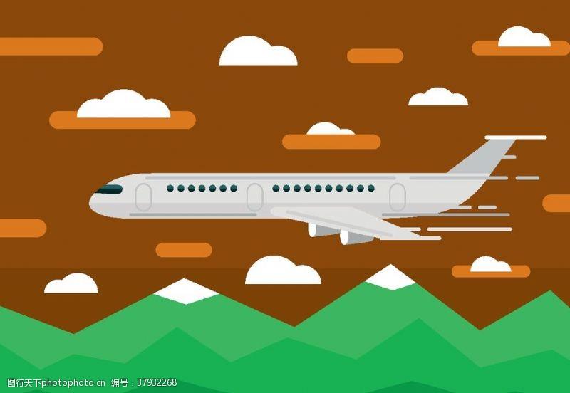 卡通设计扁平化飞机